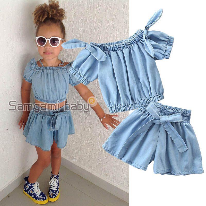 Shorts Outfit Sets Midress Summer Toddler Kids Baby Girl O-Neck Ruffled T Shirt Tops