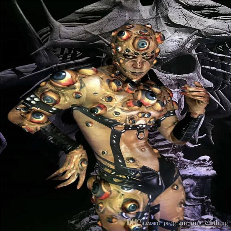 R76 Halloween Crânio homens bodysuit gogo usa vestido de festa vestir passarela bar dança de salão trajes clube macacão ds outfit pano RAVE música