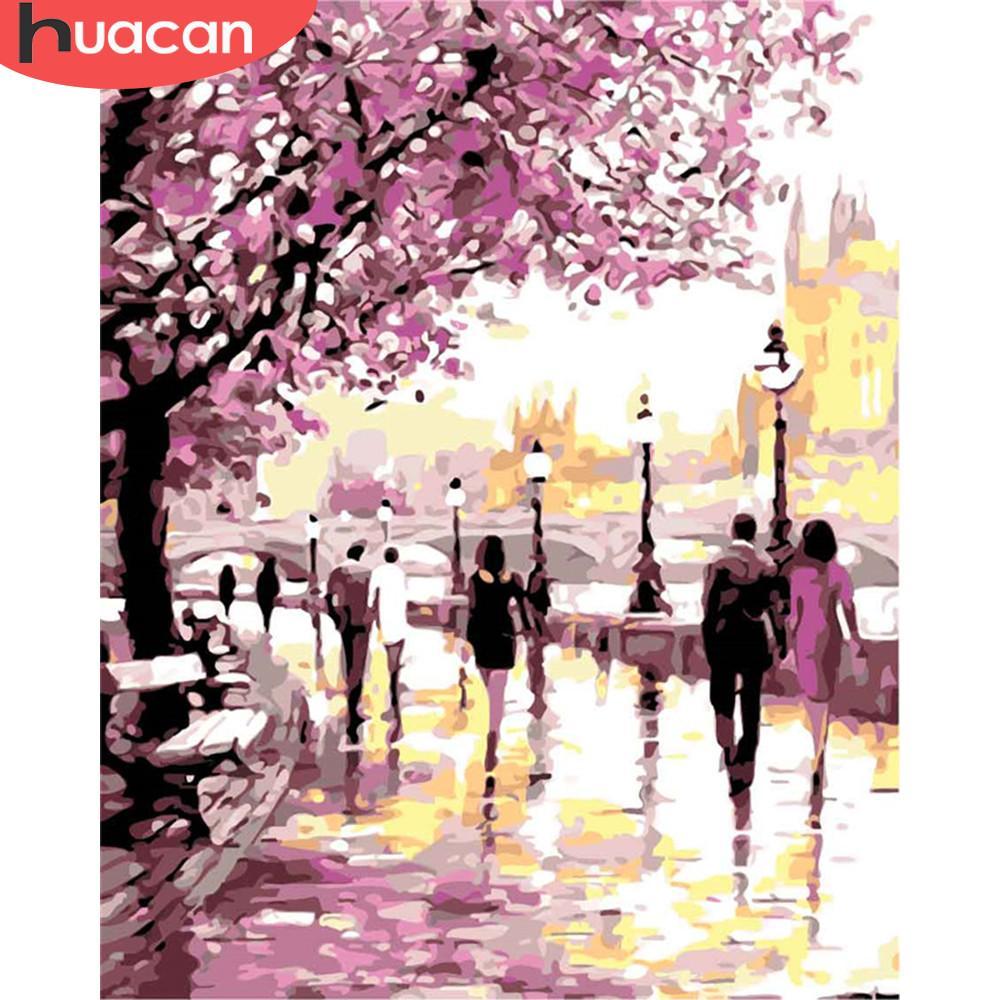 HUACAN Coloring nach Zahlen Landschaft Zeichnung auf Leinwand handgemalt Malerei-Kunst-Geschenk DIY Bilder durch Number Baum Kits Wohnkultur