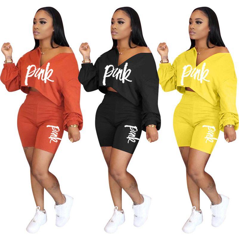 Womens brand sportswear long sleeve shorts outfits 2 piece set women tracksuit jogging sport suit sweatshirt tights sport suit klw3611
