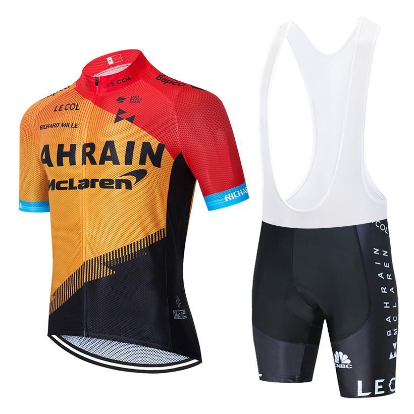 ضبط الدراجات جيرسي 2020 برو TEAM البحرين ركوب الدراجات ملابس الرجال / النساء الصيف MTB تنفس دراجة جيرسي مريلة السراويل عدة ملابس Ciclismo