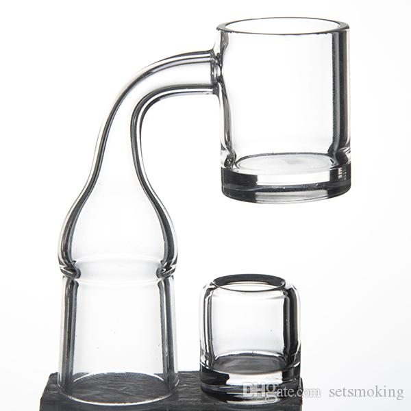 25mm Flat top quartz banger nail with 19.5mm opaque thick bottom and removable insert bowl Glass Bong Dab Rigs DHL