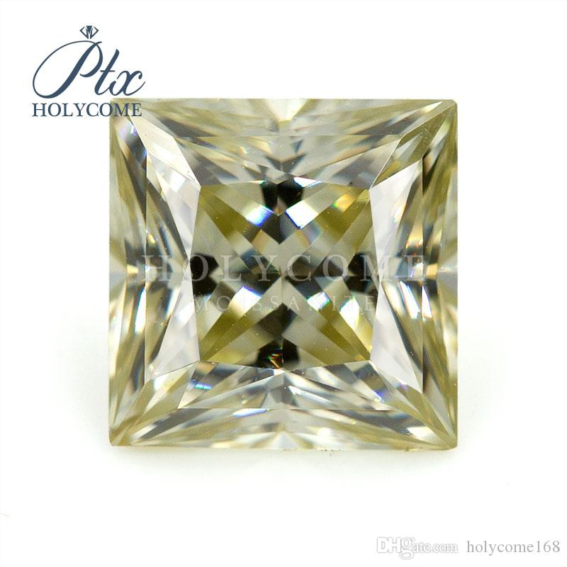 Fábrica de la venta directa de alta calidad VVS claridad 2carat amarilla corte princesa diamantes sueltos moissanita sintética