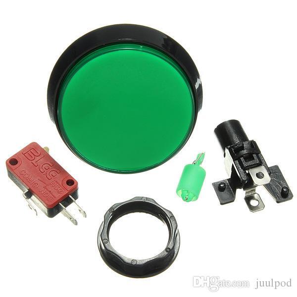 محفظة 5pcs الأخضر LED ضوء 60MM ممر لعبة فيديو لاعب زر التبديل