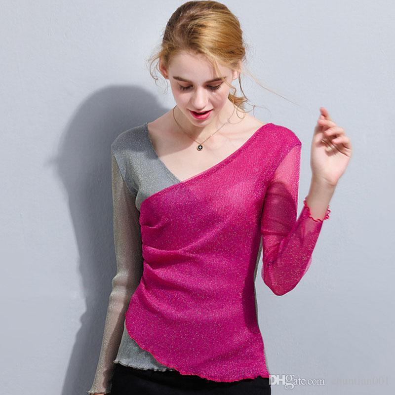 Mesh Kadın dibe Tees Tops aracılığıyla See-Toptan Bayan Tasarımcı T Shirt Seksi Kadın T Shirt V yaka Kontrast Renk tişört İnce İnce