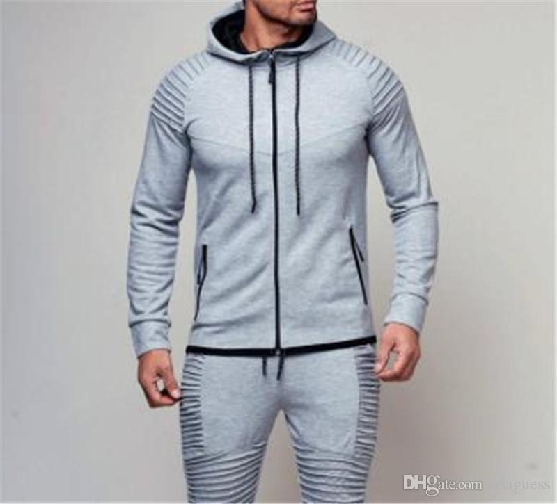 Winter Mens Entwerferhoodies-Solid Color Cardigan Herren Sportswear Sports Fitness Langarm mit Kapuze lose Herren Sweatshirts mit Reißverschluss