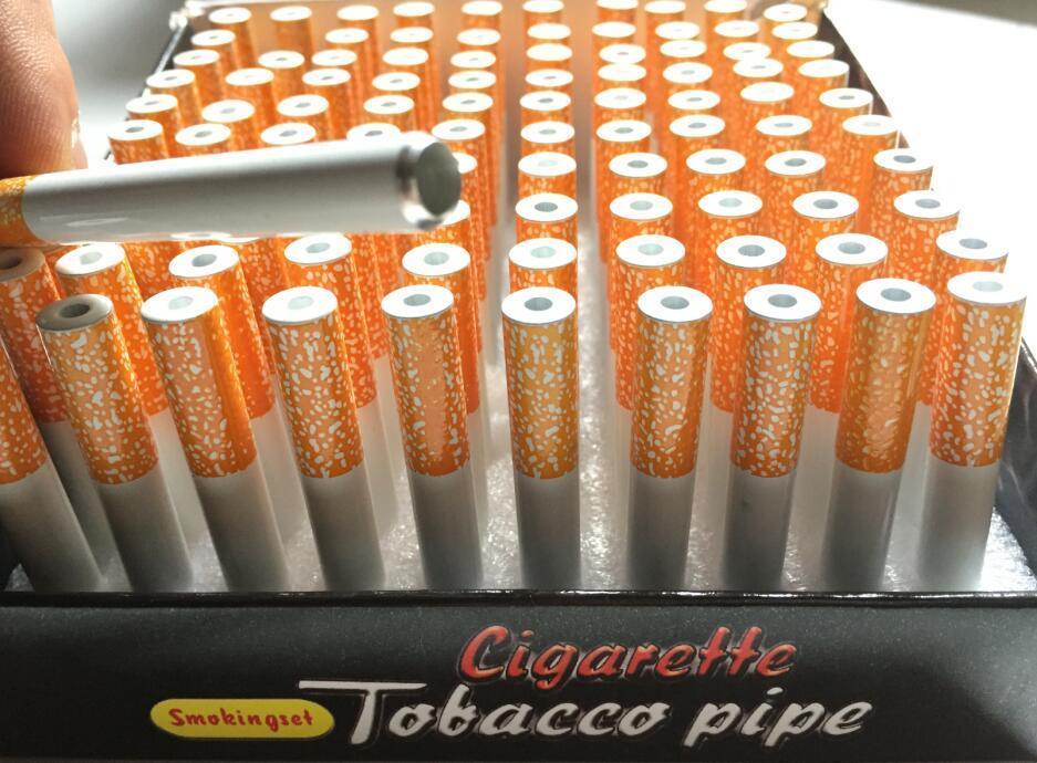 Box 78mm 55mm Zigarette Form Rauchpfeifen Aluminiumlegierung Metallrohr-One Hitter Minihandmetalltabakpfeifen Schnupftabak Rohr