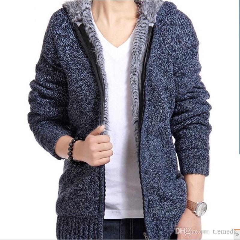 Hommes Sweatshirts Cardigan d'automne et d'hiver pour homme Nouveau Cachemire Homme Pull Sweater Coréen Mode Sweat à capuche