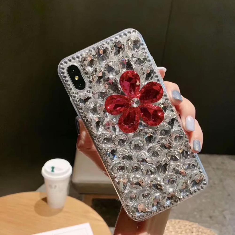 gros Bling Crystal fleurs pour iPhone 7 8 6 6s plus de diamants de luxe Plein écran jeweled pour iPhone X XS MAX XR