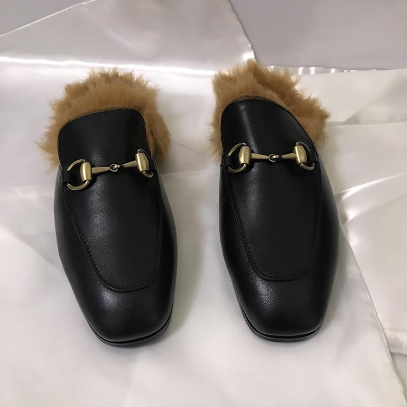تشيوان تشي هسين هو نفس النوع من الخيول الكنغر الفراء النعال النساء جلد متعطل شقة أحذية مولر