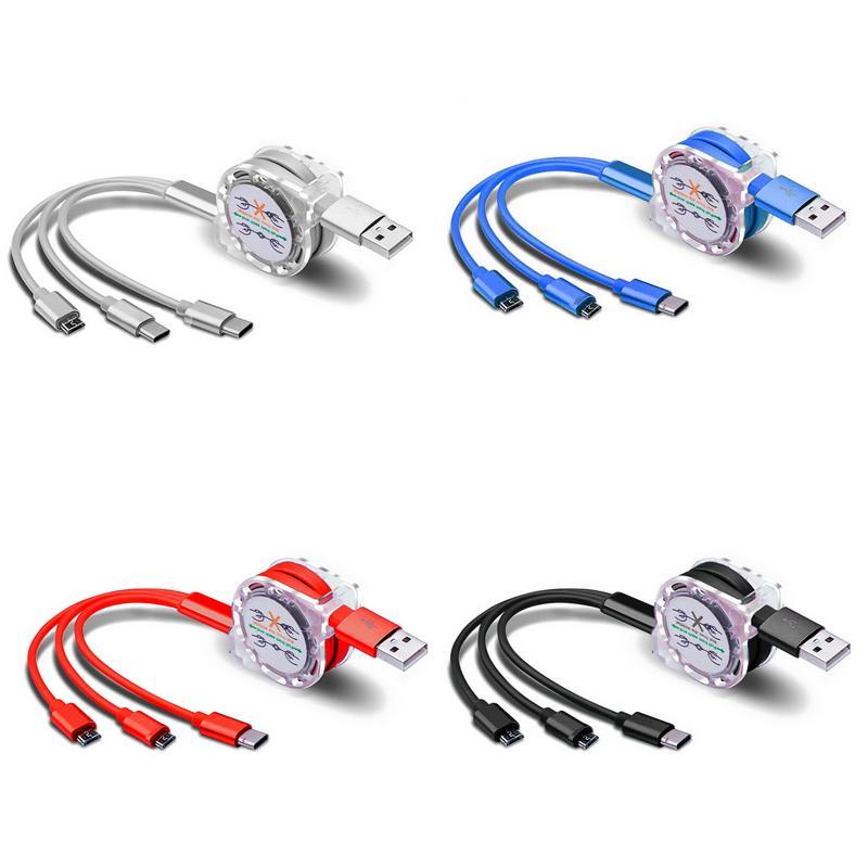 دي إتش إل الحرة قابل للسحب موضوع USB كيبل شحن مايكرو USB نوع C الحبل السري لسامسونج غالاكسي A30 A50 A70 M30 الهاتف الخليوي متعددة شاحن كابل