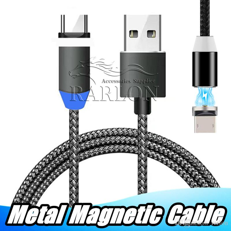 C USB de carga rápida Ronda magnética Cable USB Micro Android Tipo C trenzada cuerda de carga del cargador para Samsung LG S8 con el empaquetado