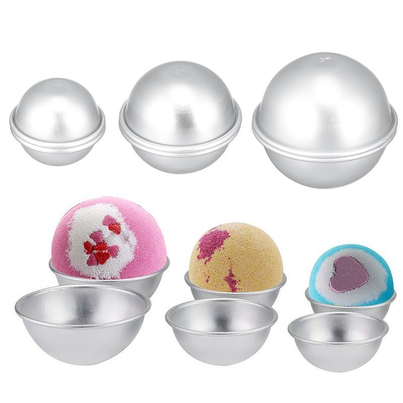 Bomba de aluminio semicírculo bricolaje herramienta de baño de bricolaje tarta tarta de bola de pudín moldes de bolas de sal de sal de salas de aleación redonda Regalos Crafting Sphere Mold WDMVF