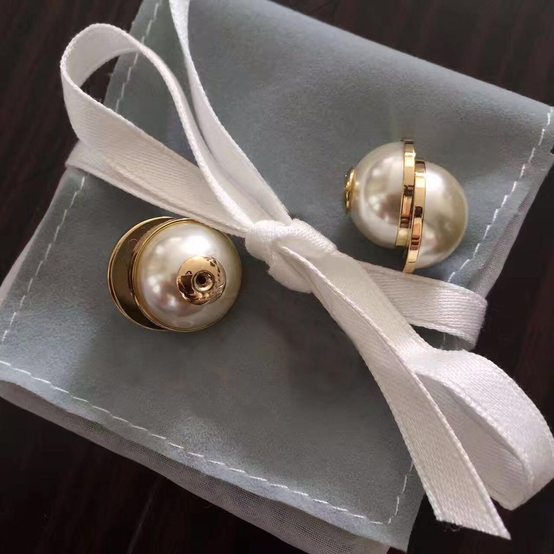 With BOX TOP brand Have stamps pearl designer earrings for lady women Party wedding lovers gift engagement luxury jewelry for Bride LZ42512