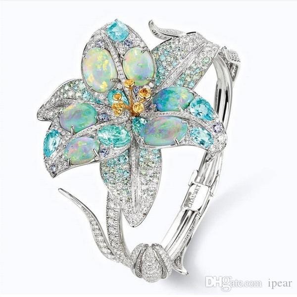 Gerçek Aşk nişan yüzüğü Yıldönümü Takı Boyutu Bayan Moda 925 Gümüş Kristal Yüzük Çiçek 5 6 7 8 9 10