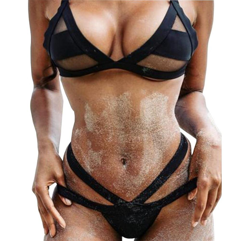 2019 mujeres Sexy e malla Bikini conjunto de encaje ahuecado Tops vendaje traje de baño Sexy Mini cadena Tanga