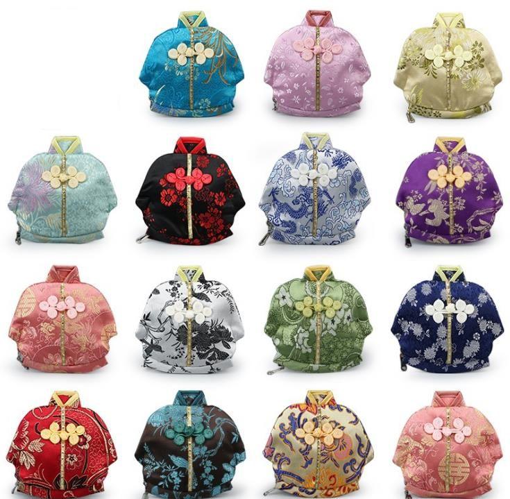 50PCS خمر الملابس الصينية على شكل صغير الحرير حقيبة زيبر المحفظة كوين مجوهرات هدية حزب الحقائب صالح 13x12cm SN1261