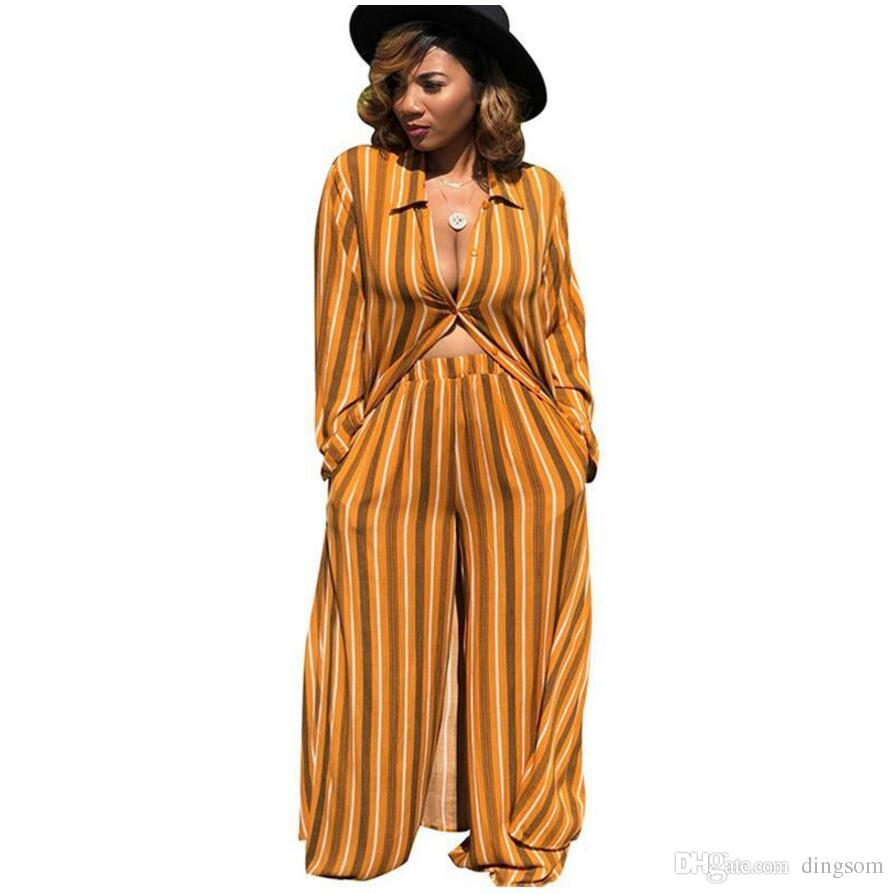 Striped Chiffon Two Piece Sets Women's Leisure Trouser Suits Loose X-Long Shirt Top and Wide Leg Pants Set Autumn Matching Sets
