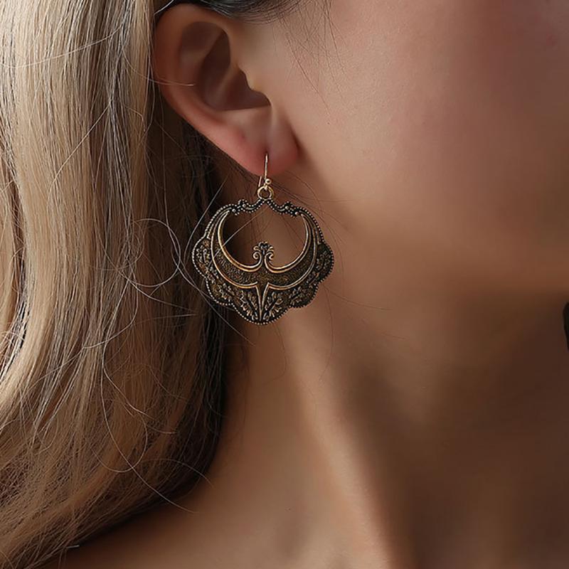Haute qualité Bohême creux Dangle Boucles d'oreilles pour les femmes de boucles d'oreilles Cercle Vintage femmes bijoux ethniques Accessoires de mode Hot New