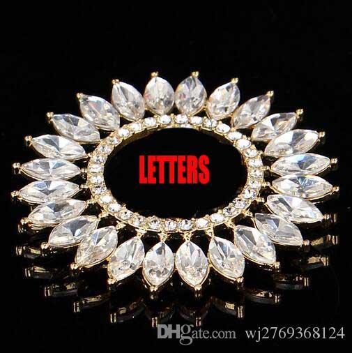 Strass di cristallo strass Girasole Spilla Pins Doppi Strati Lettere Spille Corpetto Gioielli da sposa Accessori abito da sposa