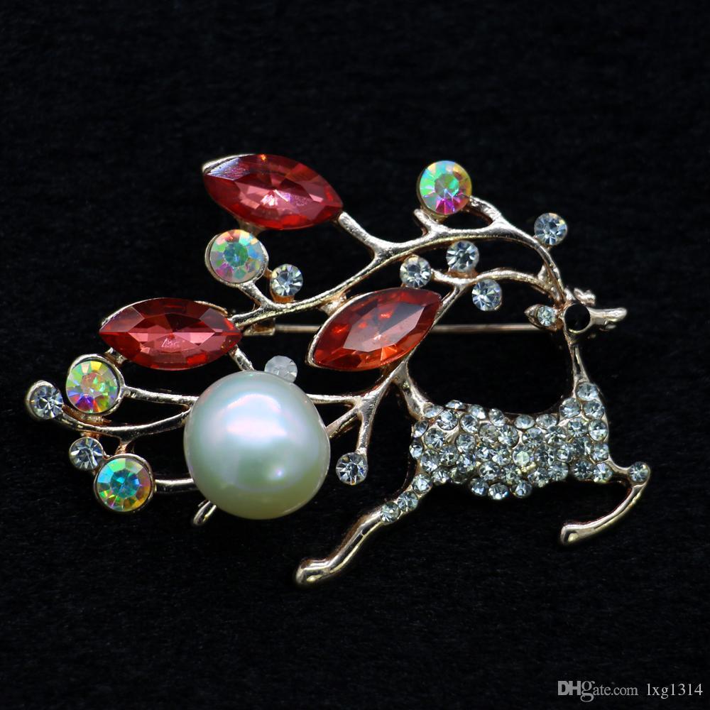 Moda de aleación de joyería de perlas de ciervos sika broche de diamantes y broche de perlas de agua dulce de circón