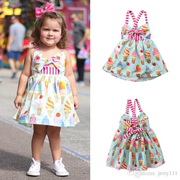 UK Cute Toddler Kid Baby Girl Ice Cream Sleeveless Dress Sundress Summer Clothes