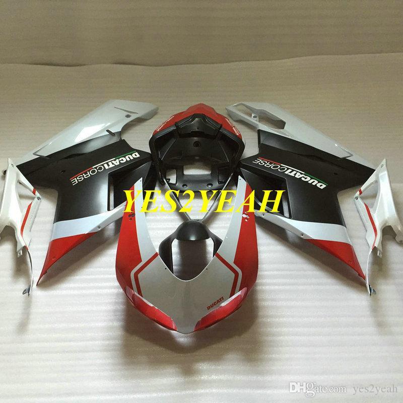 Kit corpo carena iniezione per DUCATI 848 08 09 10 11 ducati 1098 1198 2008 2009 2011 Carrozzeria rosso bianco bianco Carrozzeria + Regali DD73