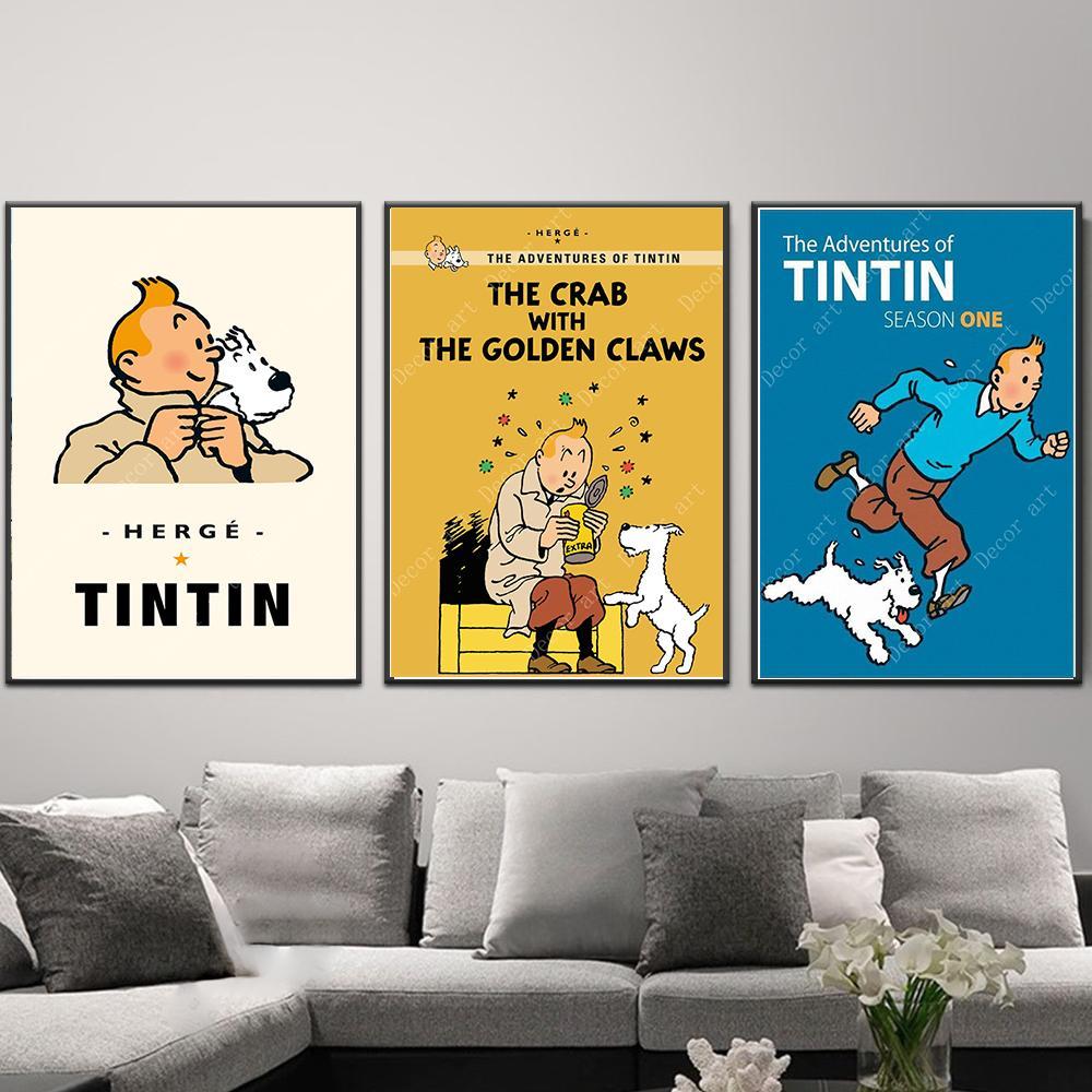Mars Exploration Les Aventures De Tintin Chien Bande Dessinée Sur Toile Peinture Vintage Kraft Affiche Enduit Stickers Muraux Décor À La Maison Cadeau