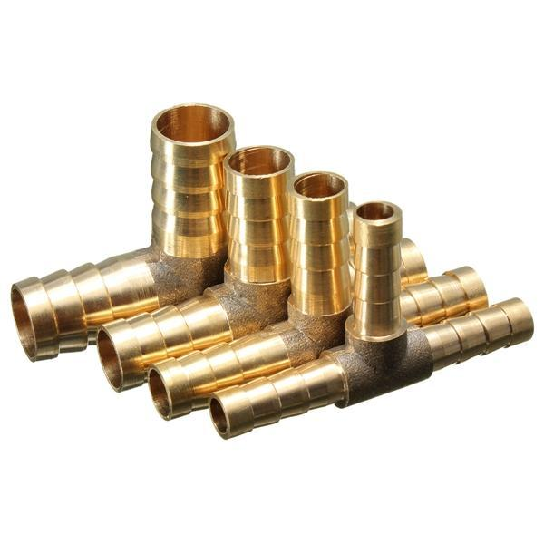 6mm 8mm 10mm 12mm Brass T Piece 3 Way Fuel Hose Joiner Connector For Air Oil Gas - 6mm
