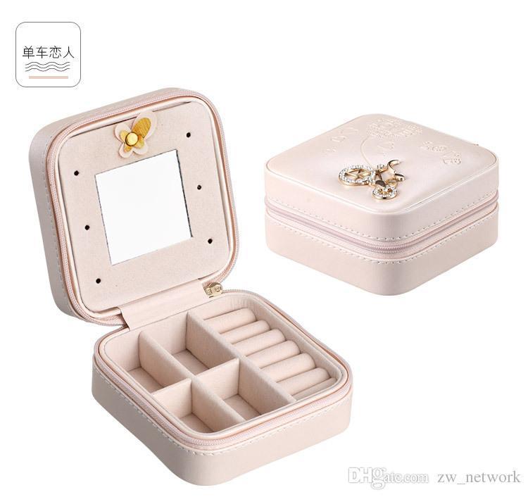 Переносной PU Jewelry хранения мини квадратики коллекция ювелирных изделий Организатор серег ожерелье кольцо футляр Держатель для аксессуаров Чехол