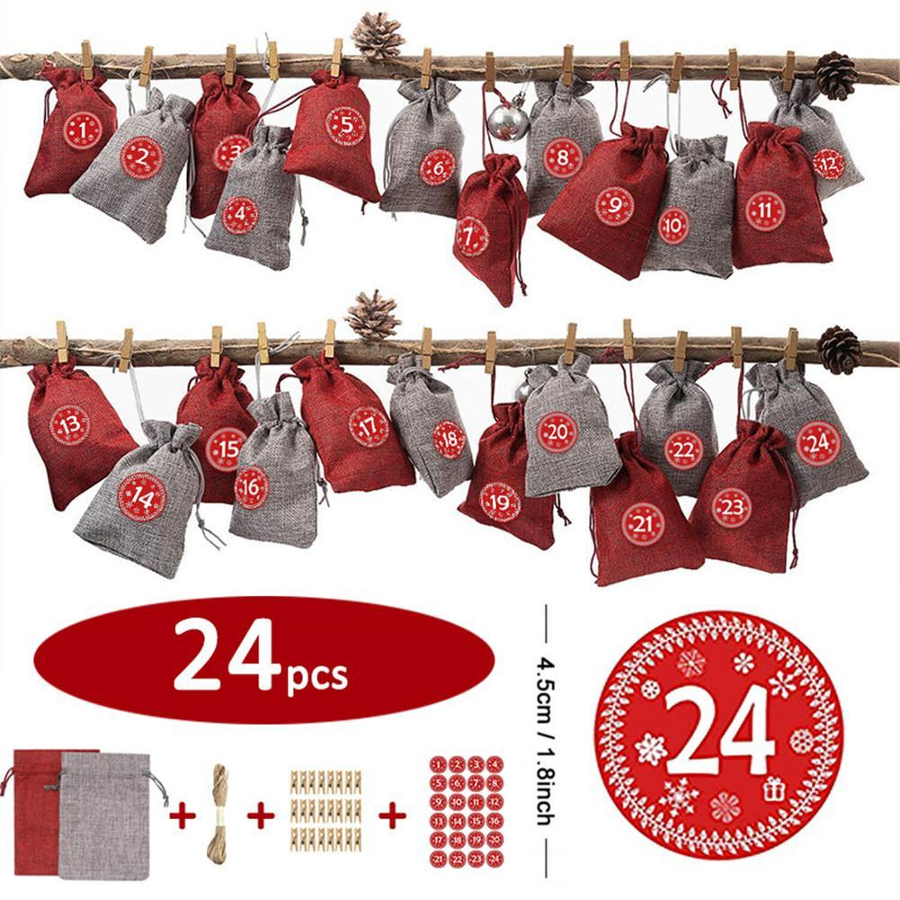 Christmas Candy Bag Christmas Countdown Calendar Gift Container Children's Canvas Gift Pouch Tree Decoration 24PCS