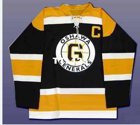 Uomo Personalizza CHL Oshawa Generals OHL 2 Bobby Orr Hockey Jersey Nero ricamo Hockey Jersey o personalizzato qualsiasi nome o numero Retro Jersey