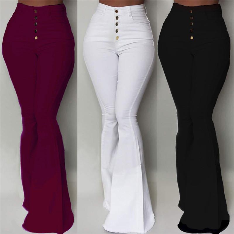 GAOKE Weiß Schlaghose Frauen Knopf High Waist Flare Pants Neue Hosen dünne beiläufige elegante Arbeitskleidung Pantalon Femme