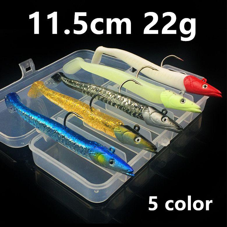 5pcs / 1box 11.5cm 22g Jigs Pêche Crochets Hameçons Crochet simple Leurre souple Appâts Leurres Pesca Peche B14_25