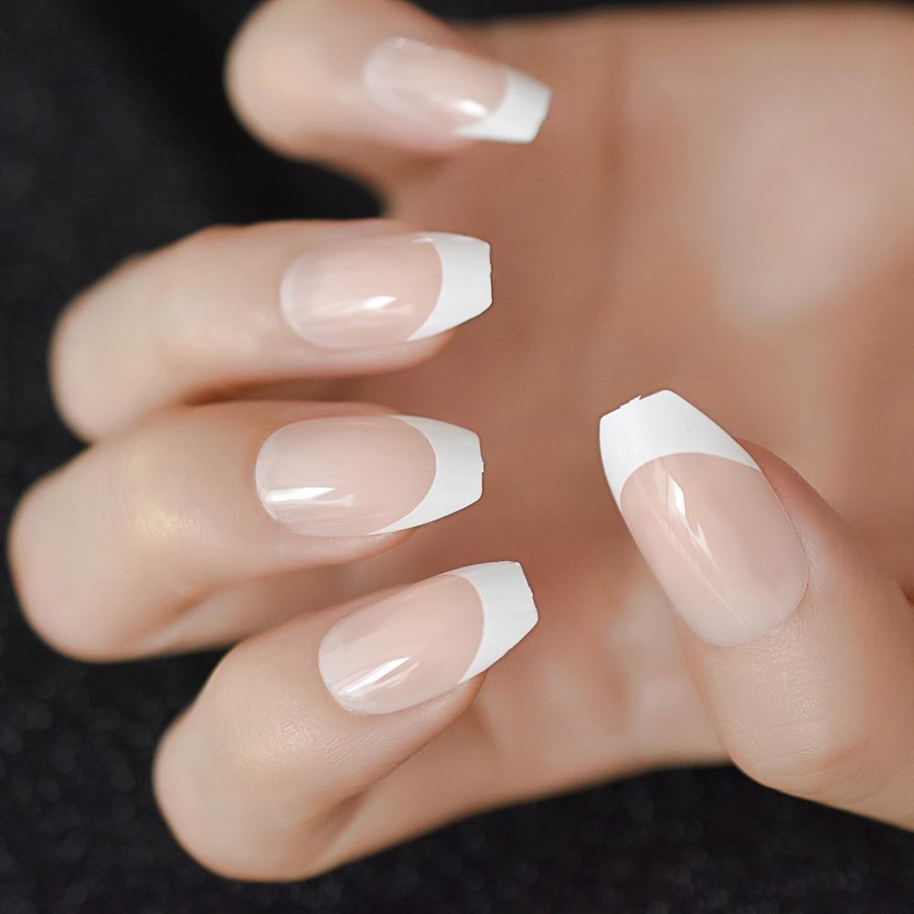 Nude Ballerina Fake Nails Marble White Natural Tips Medium Size Coffin Shape False Ballet Fingernails Nails Acrylic Nails Supply From Heheda2, $34.68|