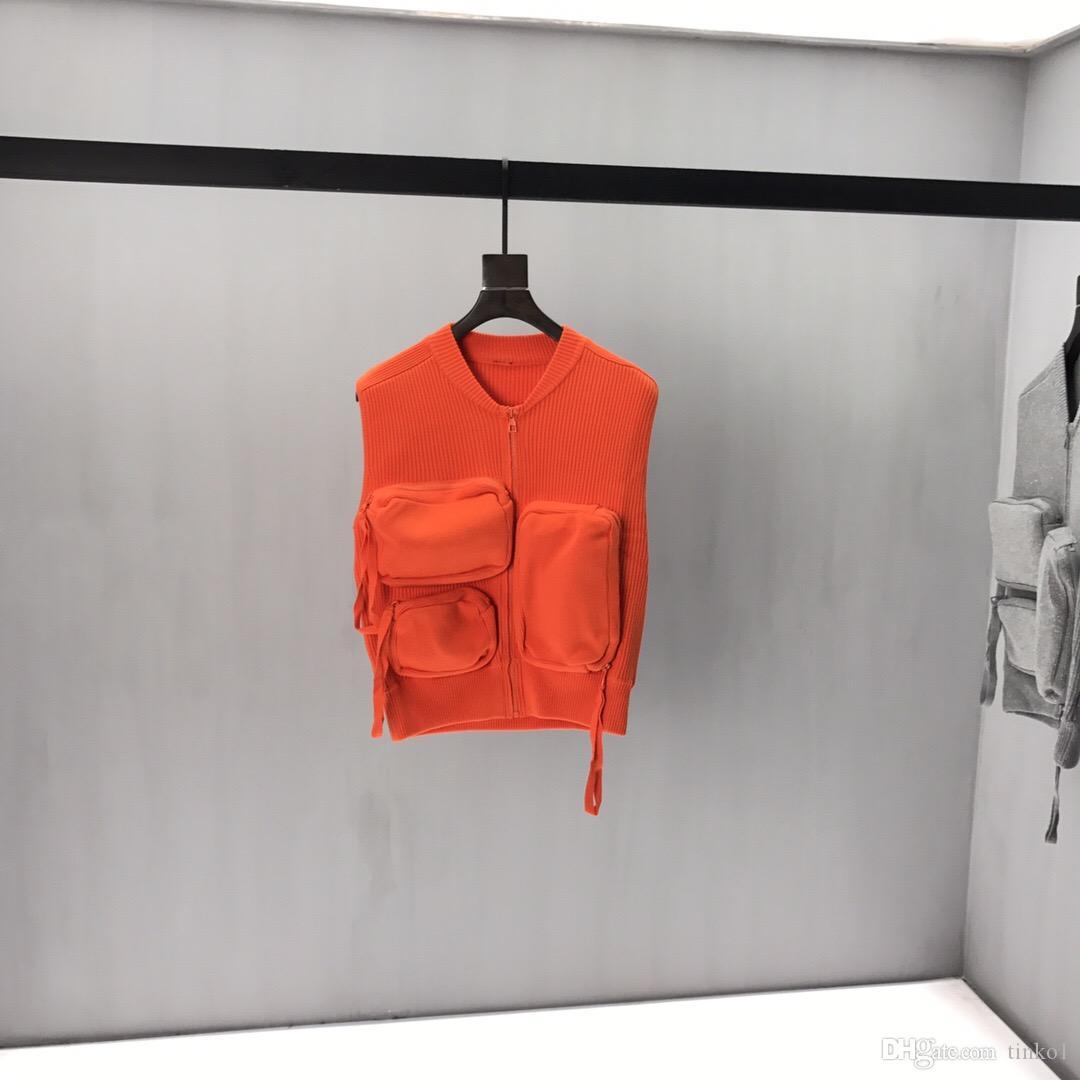2020 Winter Твердая свитер Мужчины Женщины Новый Повседневный Slim Fit Мужские трикотажные свитера свитер жилет карман O-Neck трикотажной Пуловер мужчин