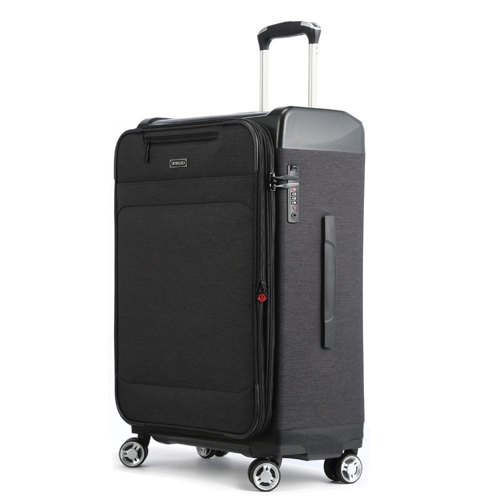 Durable 4 Roues Valise Soft Luggage Noir Léger Serrure TSA Extensible Sac
