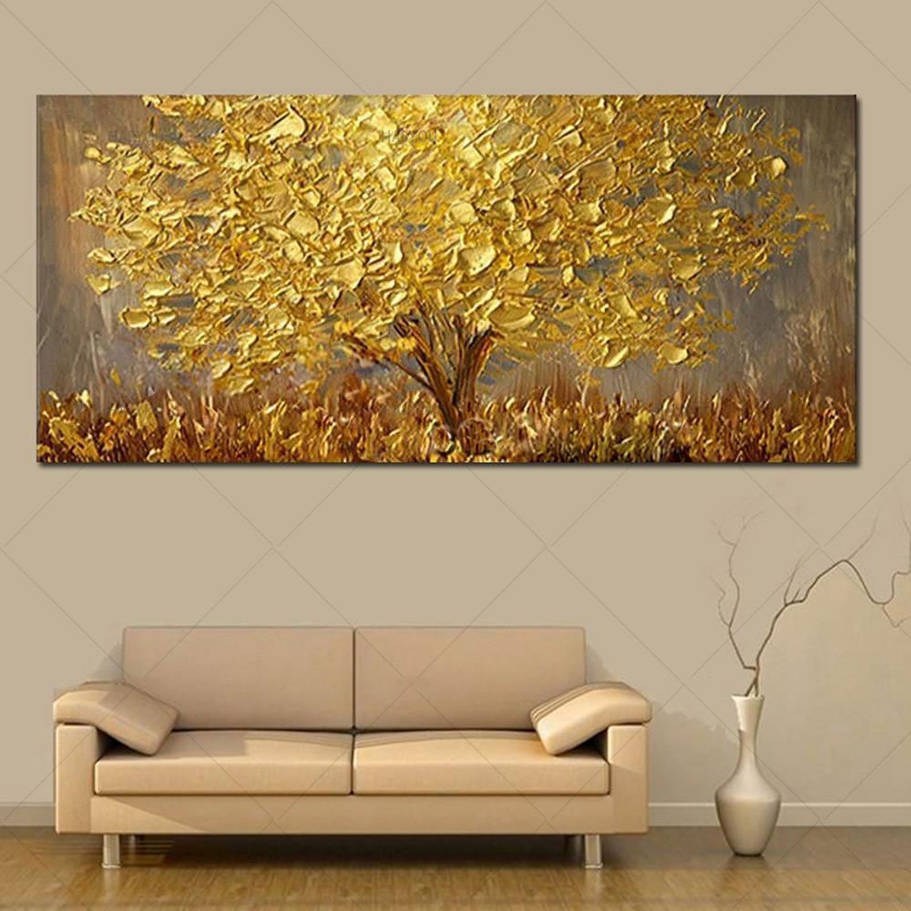 Salon Modern Soyut Wall Art Pictures için Tuval Büyük Palet 3D Tabloları üzerinde El Boyalı Bıçak Altın Ağacı Yağı Boyama
