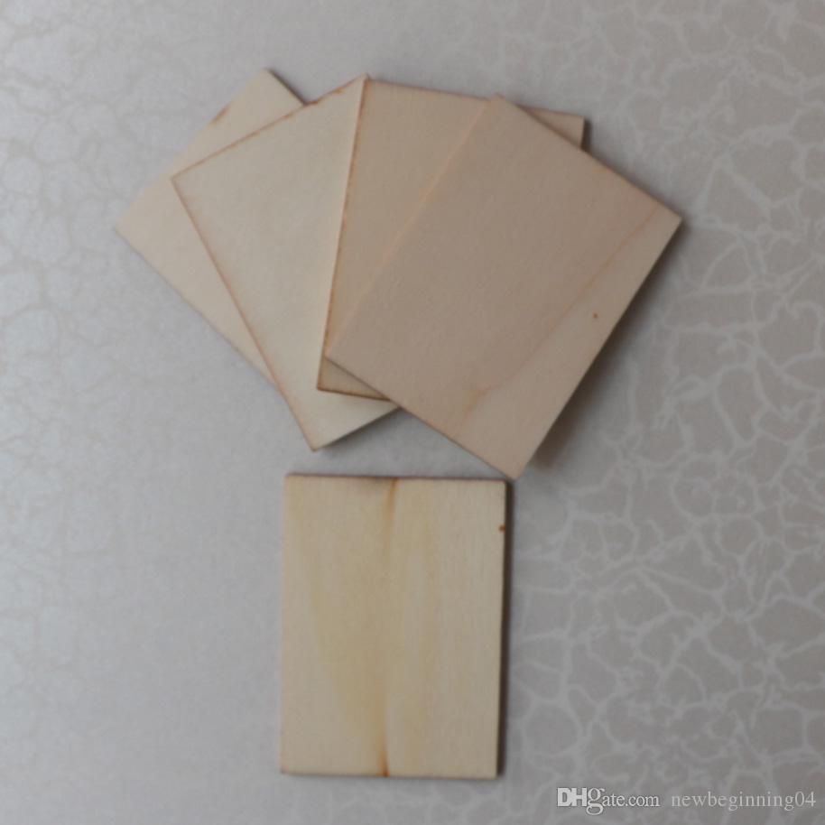 DIY boş ahşap dikdörtgen şekil süsleme ev decoartion lazer kesim ahşap dikdörtgen koster düğün masa dekorasyon ücretsiz kargo 50 adet