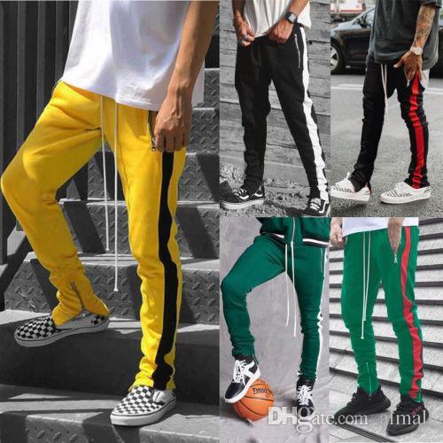 2019 Mens cremallera bolsillo Anke Zip pantalones de la pista largo Dawstring Sweatpants lado a rayas Patchwork Casual Retro pantalones hombre pantalones