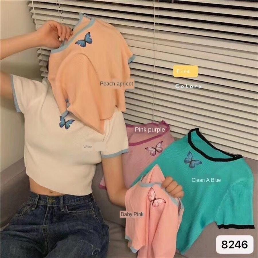 Zhou Yangqing camiseta complementos femeninos camiseta super fire mariposa mariposa de manga corta de 2020 estilo elegante de la corto bm