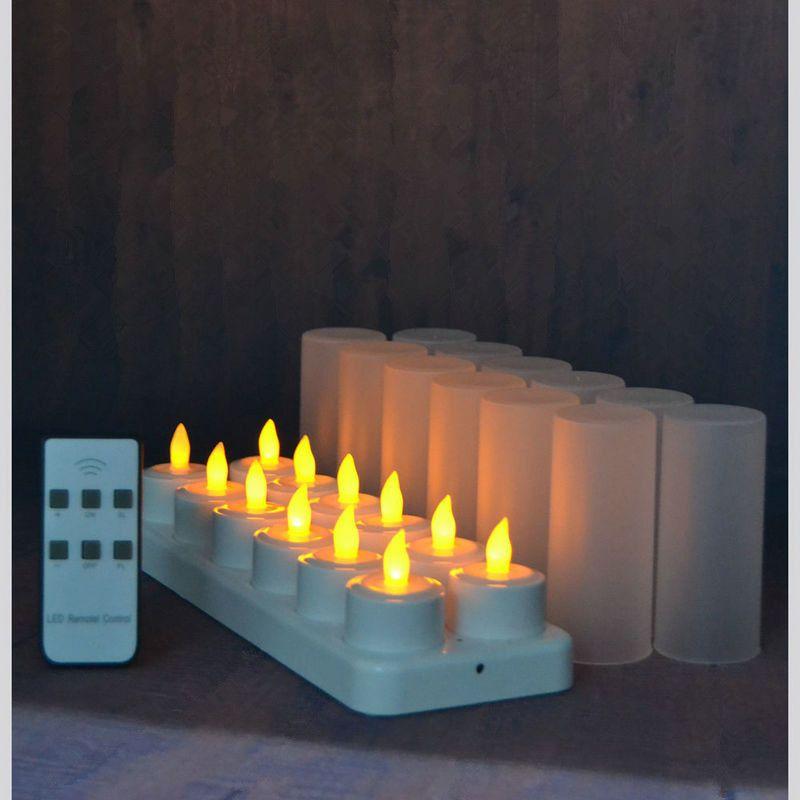 Juego de 12 Velas Led de Control Remoto Parpadeo Helado Recargable Luces de Té / electrónica Lámpara de Vela Bar de Bodas de Navidad T8190620