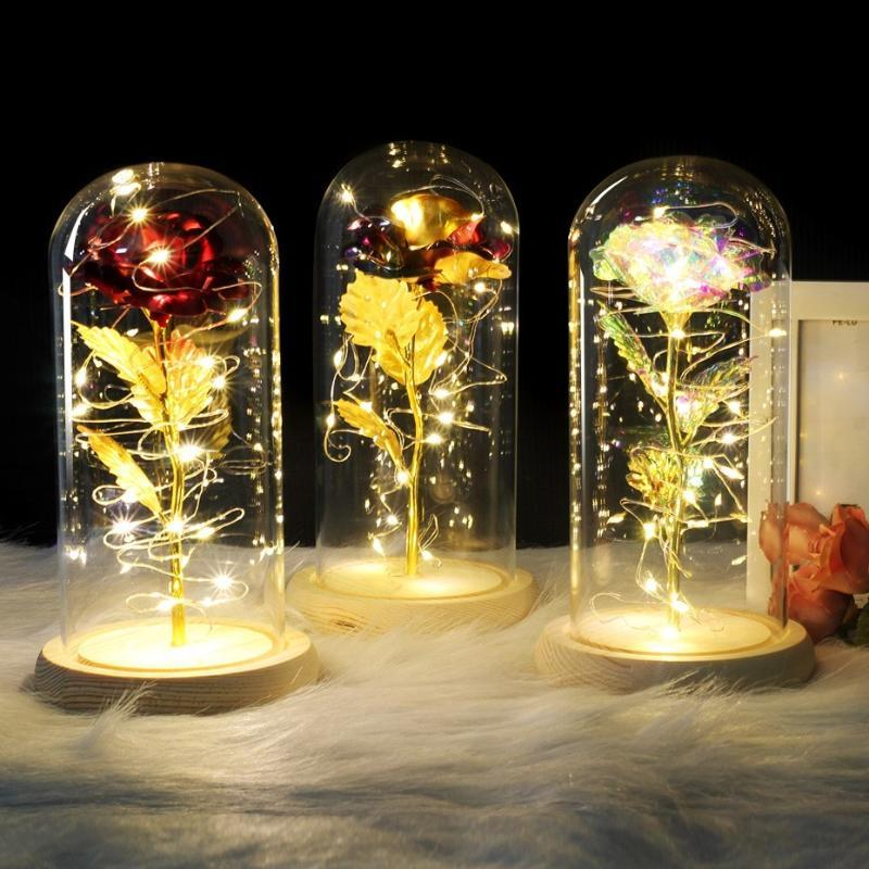 6 Colour Red Rose In Flask A Glass Dome On A Wooden Base For Valentines Day Gift LED Rose Lamps Christmas