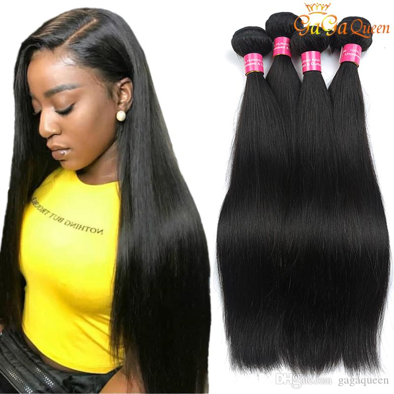 Mink brésilien vierge cheveux droite 4 paquets cheveux humains tissers non transformés brésiliens brésiliens péruviens indiens