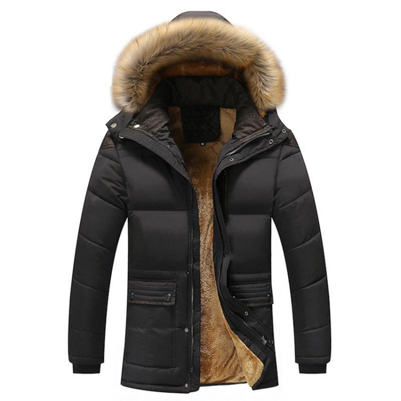 Men's Windbreaker Fur Collar Hooded Long Trench Winter Coat Men Plus Velvet Padded Coats Overcoat Chaqueta Hombre Warm Jackets