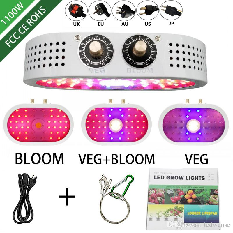 1100W led grow light 85-265V Double Switch Dimmable Full Spectrum Grow lamps For Indoor seedling tent Greenhouse flower fitolamp plant lamp