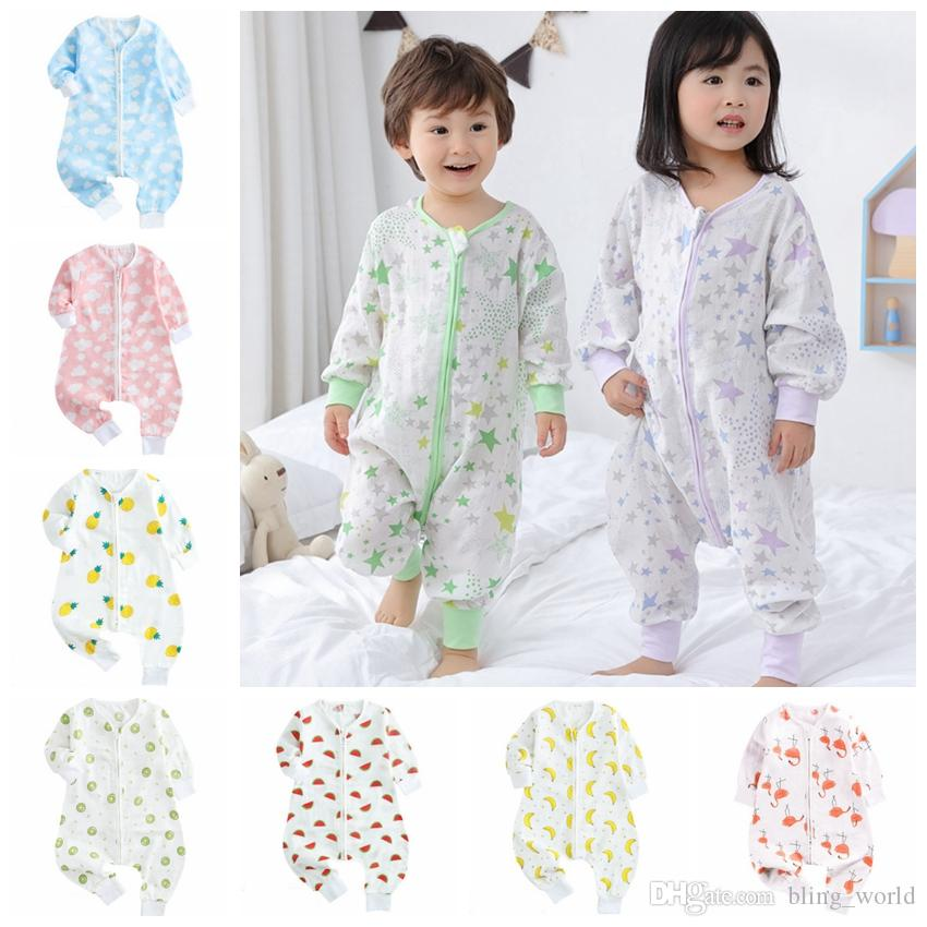 Baby Sleeping Bag Cartoon Kids Romper Sleep Sacks Children Kick Quilts Long Sleeve Toddler Home Clothes 7 Designs YW3298