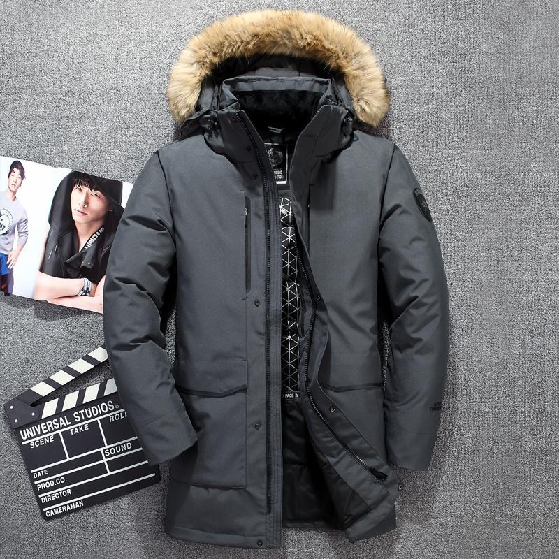 Para cálido -40 Rusia invierno ocasional de los hombres 90% pato blanco abajo hombres de la chaqueta larga de chaquetas abrigos chaquetas abrigo largo
