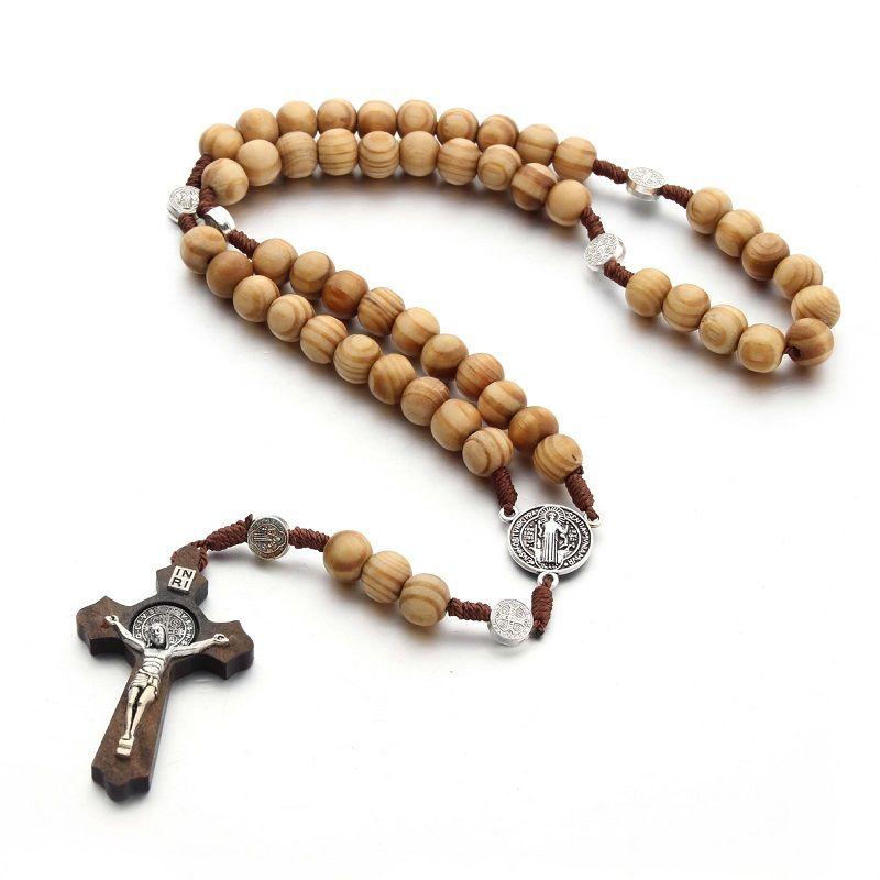الكلاسيكية اليد نسج الخرز الخشبي قلادة الصليب قلادة صلوا صلوا الوردية الخرز الدينية مجوهرات قلادة يسوع مجوهرات هدايا عيد الميلاد