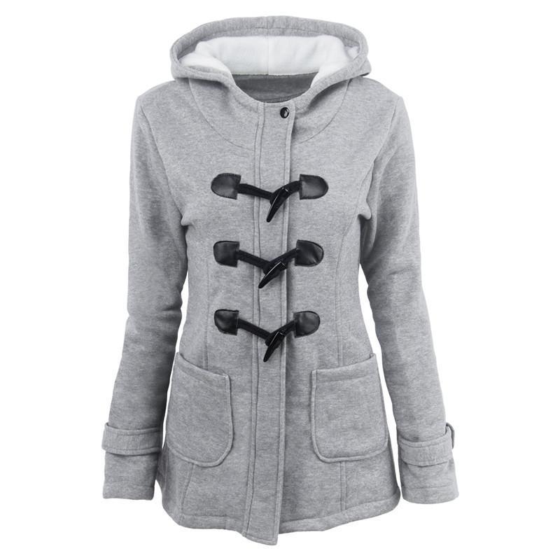 Kış Yeni Kadın Ceket Moda İnce Pamuk Blend Kornalar Toka Kazık Kaplama Parka Coat Plus Size S-6XL Kapüşonlular Parkası